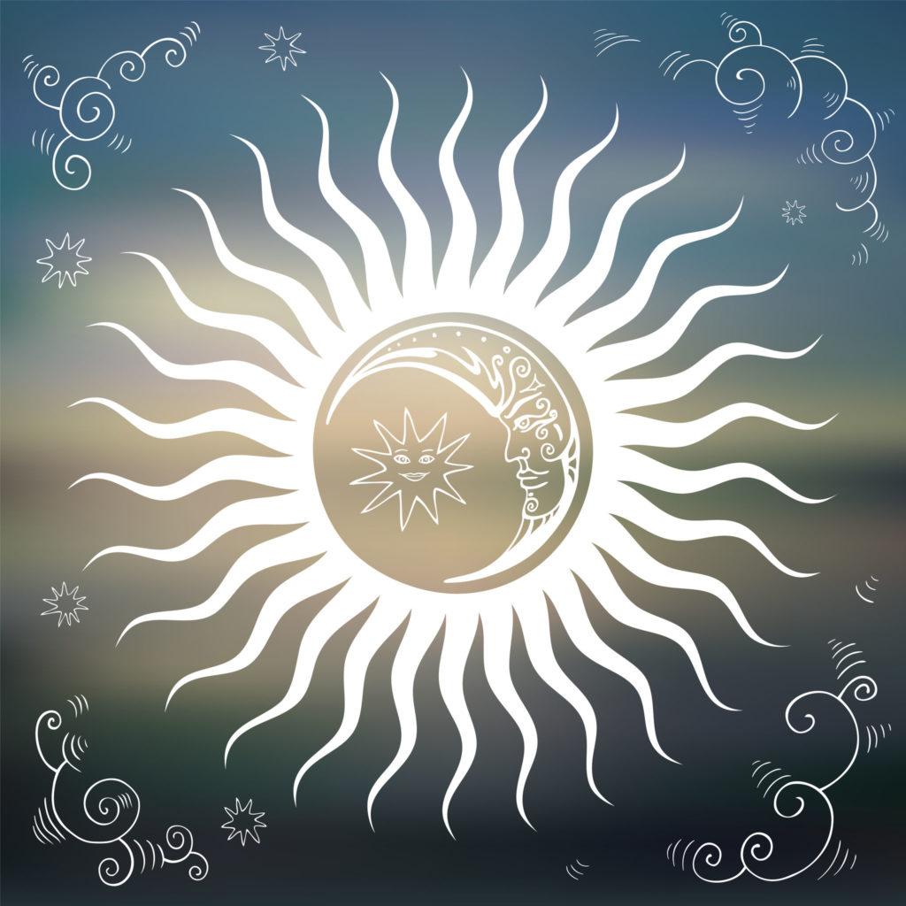 30630684 - vintage sky, sun, moon, clouds, stars