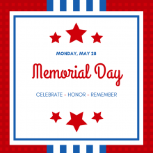 Memorial Day is May 28